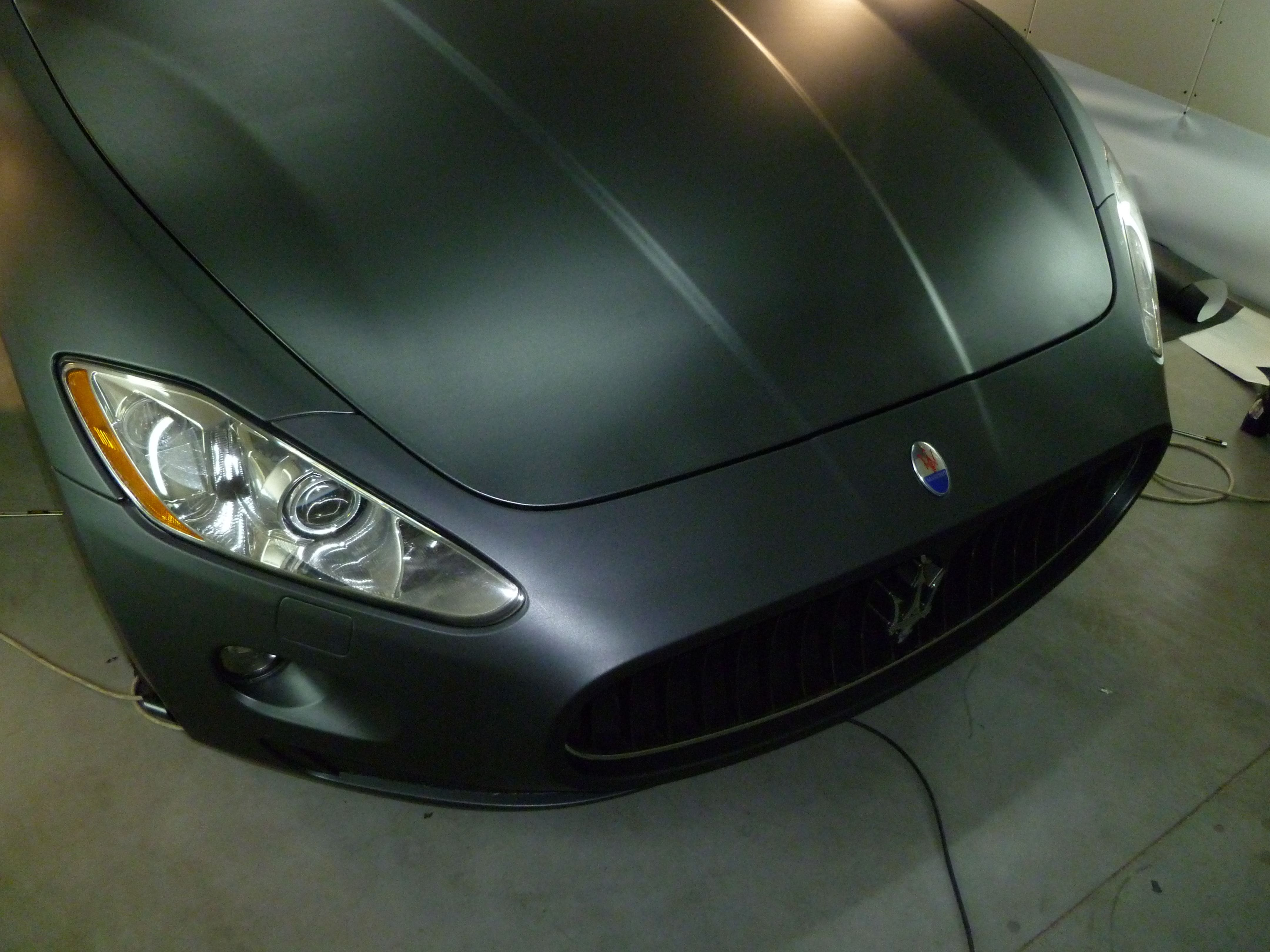 Maserati Gran Turismo met Mat Zwarte Wrap, Carwrapping door Wrapmyride.nu Foto-nr:6060, ©2020