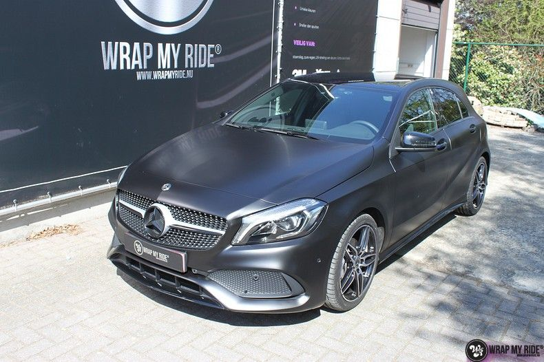 Mercedes A-klasse Satin Black, Carwrapping door Wrapmyride.nu Foto-nr:12447, ©2020