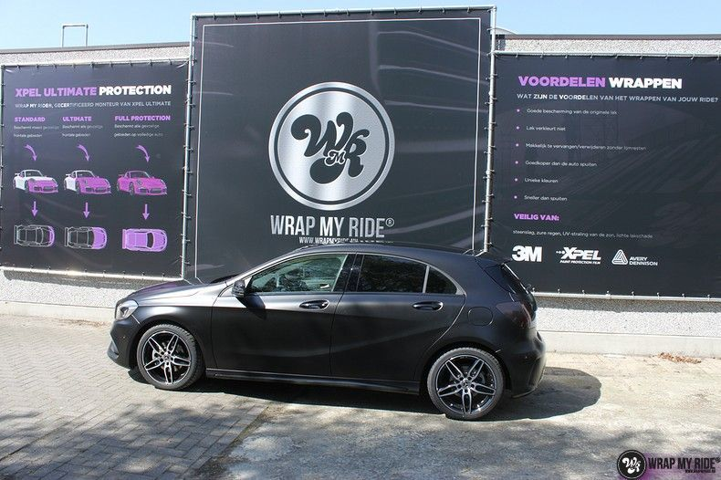 Mercedes A-klasse Satin Black, Carwrapping door Wrapmyride.nu Foto-nr:12446, ©2019