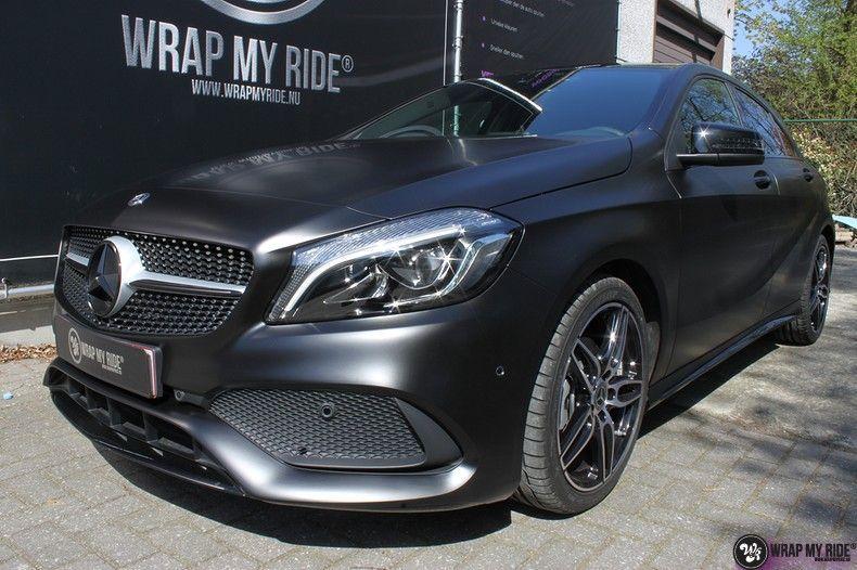 Mercedes A-klasse Satin Black, Carwrapping door Wrapmyride.nu Foto-nr:12443, ©2021