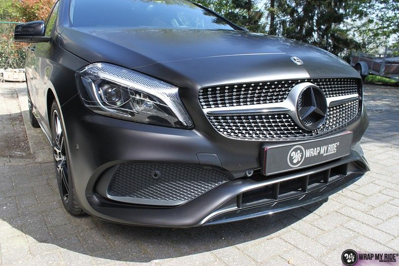Mercedes A-klasse Satin Black, Carwrapping door Wrapmyride.nu Foto-nr:12442, ©2021
