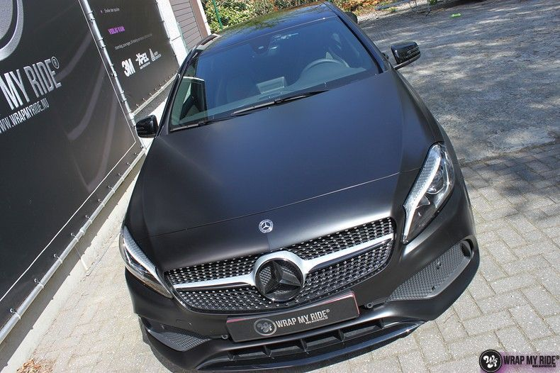 Mercedes A-klasse Satin Black, Carwrapping door Wrapmyride.nu Foto-nr:12441, ©2020
