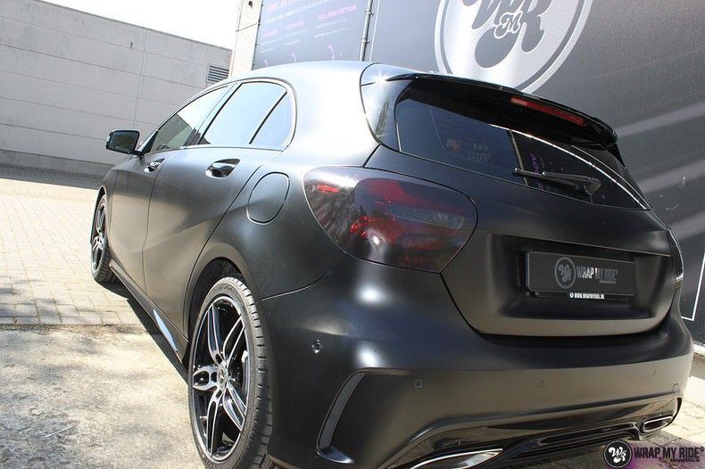 Mercedes A-klasse Satin Black, Carwrapping door Wrapmyride.nu Foto-nr:12439, ©2021