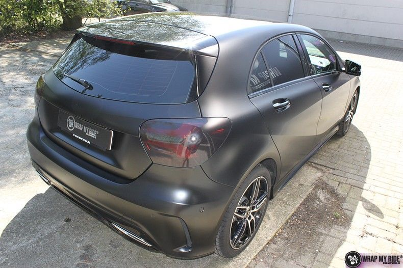 Mercedes A-klasse Satin Black, Carwrapping door Wrapmyride.nu Foto-nr:12438, ©2019