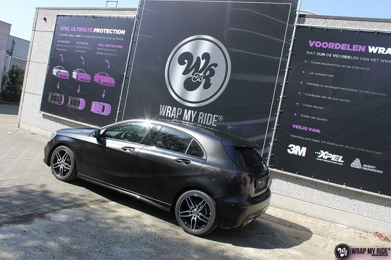 Mercedes A-klasse Satin Black, Carwrapping door Wrapmyride.nu Foto-nr:12437, ©2019