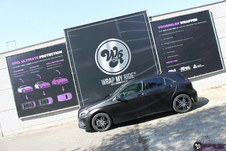Mercedes A-klasse Satin Black, Carwrapping door Wrapmyride.nu Foto-nr:12436, ©2019