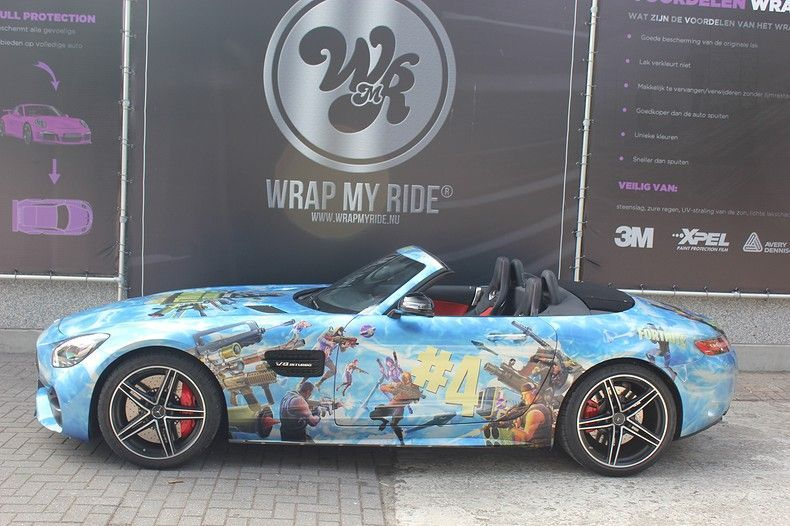 Mercedes AMG GTC roadster full colour Fortnite, Carwrapping door Wrapmyride.nu Foto-nr:12037, ©2019