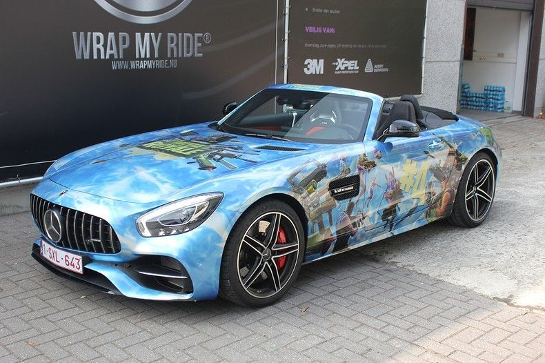 Mercedes AMG GTC roadster full colour Fortnite, Carwrapping door Wrapmyride.nu Foto-nr:12036, ©2019