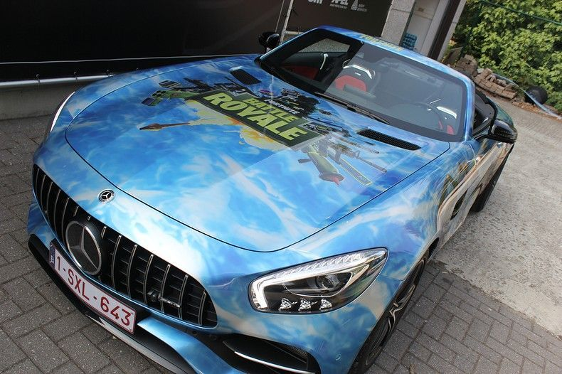 Mercedes AMG GTC roadster full colour Fortnite, Carwrapping door Wrapmyride.nu Foto-nr:12035, ©2019