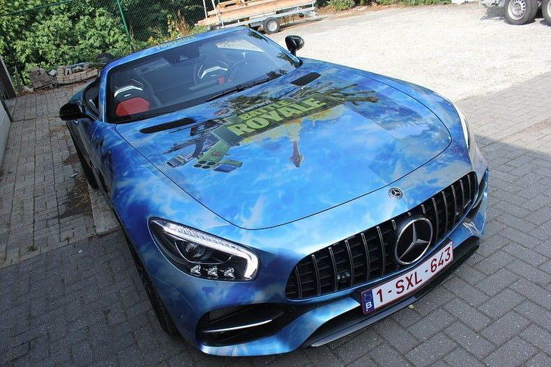 Mercedes AMG GTC roadster full colour Fortnite, Carwrapping door Wrapmyride.nu Foto-nr:12028, ©2019