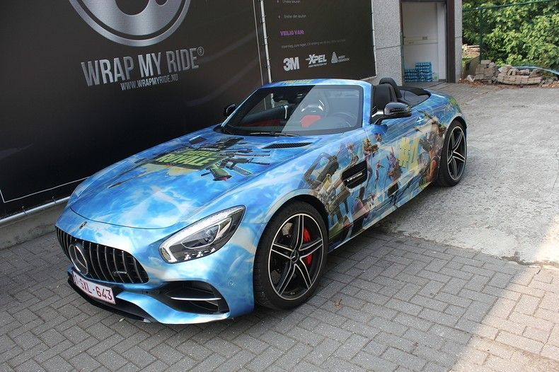 Mercedes AMG GTC roadster full colour Fortnite, Carwrapping door Wrapmyride.nu Foto-nr:12027, ©2019