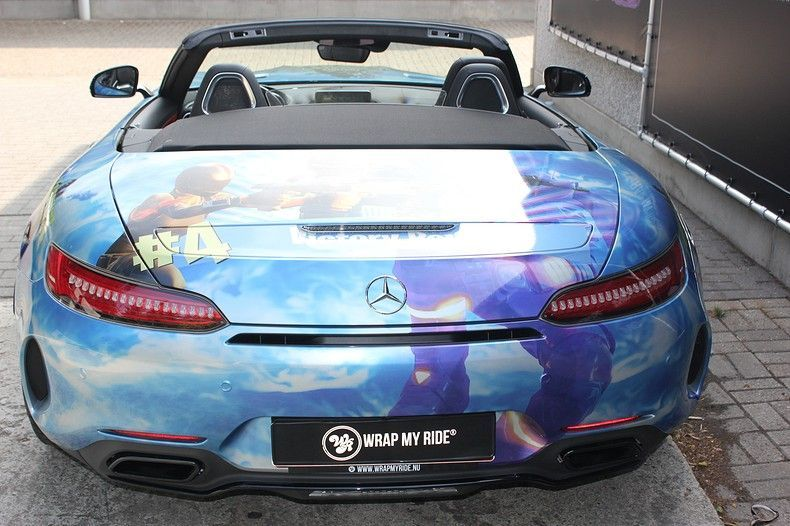 Mercedes AMG GTC roadster full colour Fortnite, Carwrapping door Wrapmyride.nu Foto-nr:12025, ©2019