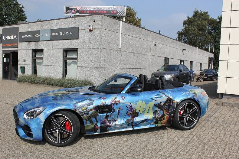 Mercedes AMG GTC roadster full colour Fortnite, Carwrapping door Wrapmyride.nu Foto-nr:12023, ©2019