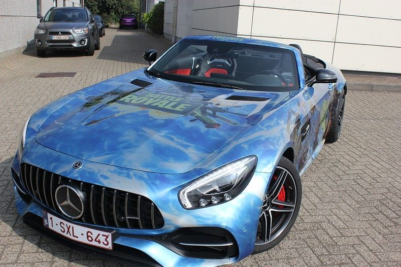 Mercedes AMG GTC roadster full colour Fortnite, Carwrapping door Wrapmyride.nu Foto-nr:12022, ©2019