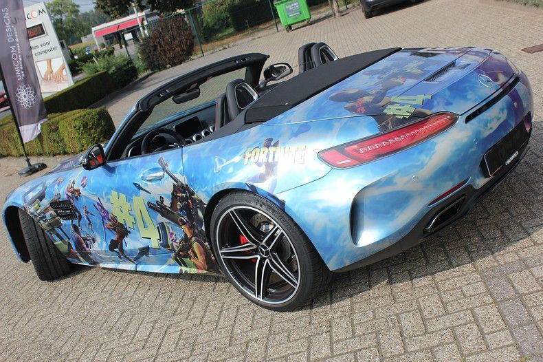 Mercedes AMG GTC roadster full colour Fortnite, Carwrapping door Wrapmyride.nu Foto-nr:12021, ©2019
