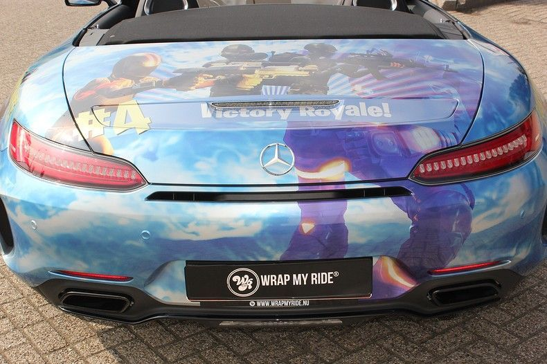 Mercedes AMG GTC roadster full colour Fortnite, Carwrapping door Wrapmyride.nu Foto-nr:12019, ©2019