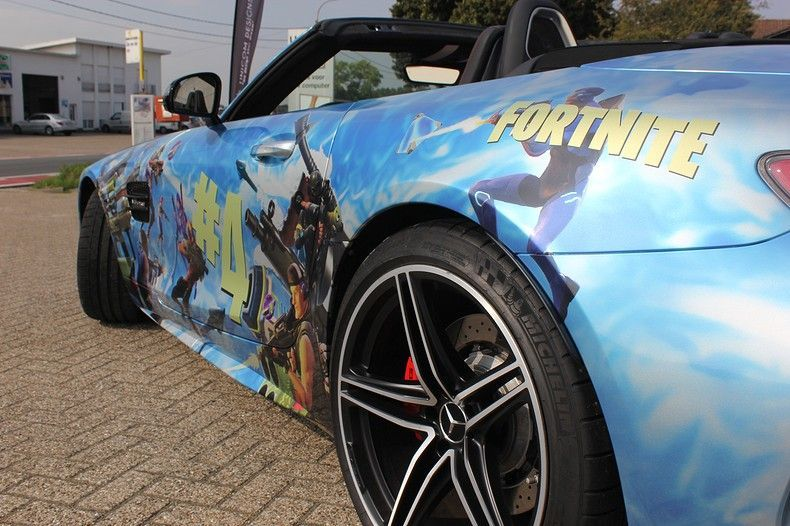Mercedes AMG GTC roadster full colour Fortnite, Carwrapping door Wrapmyride.nu Foto-nr:12012, ©2019