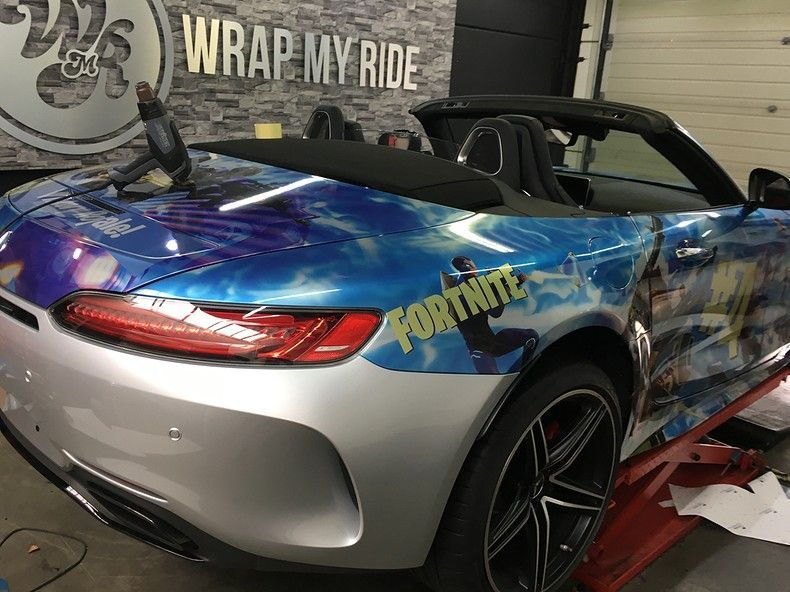 Mercedes AMG GTC roadster full colour Fortnite, Carwrapping door Wrapmyride.nu Foto-nr:12047, ©2019