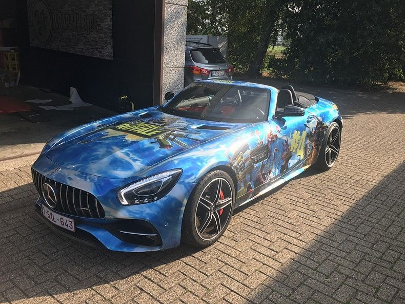 Mercedes AMG GTC roadster full colour Fortnite, Carwrapping door Wrapmyride.nu Foto-nr:12042, ©2019