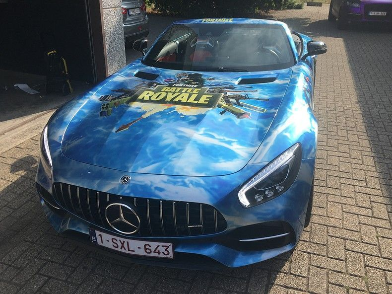 Mercedes AMG GTC roadster full colour Fortnite, Carwrapping door Wrapmyride.nu Foto-nr:12041, ©2019