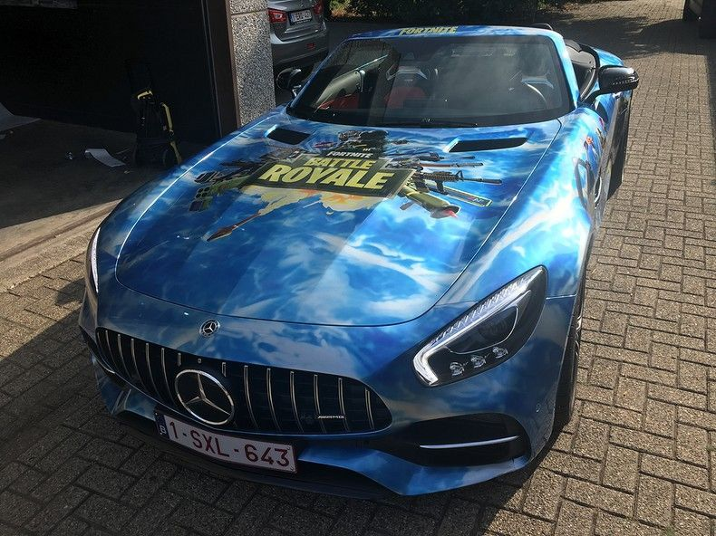 Mercedes AMG GTC roadster full colour Fortnite, Carwrapping door Wrapmyride.nu Foto-nr:12040, ©2019