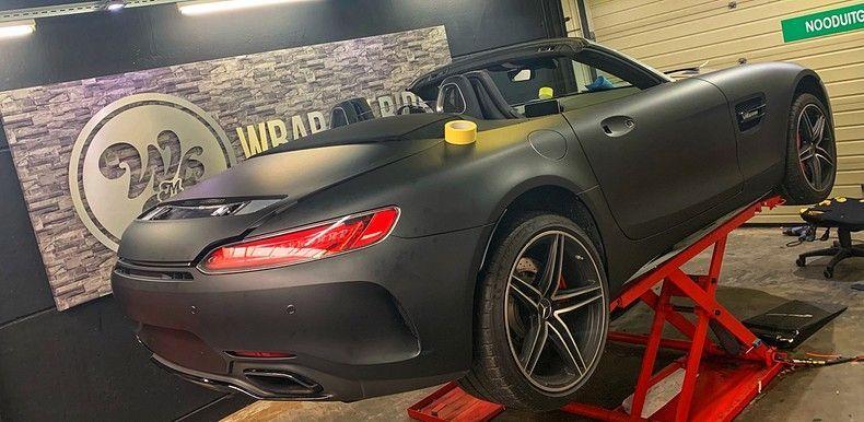 Mercedes AMG GTC Roadster Matt Deep Black, Carwrapping door Wrapmyride.nu Foto-nr:12567, ©2019