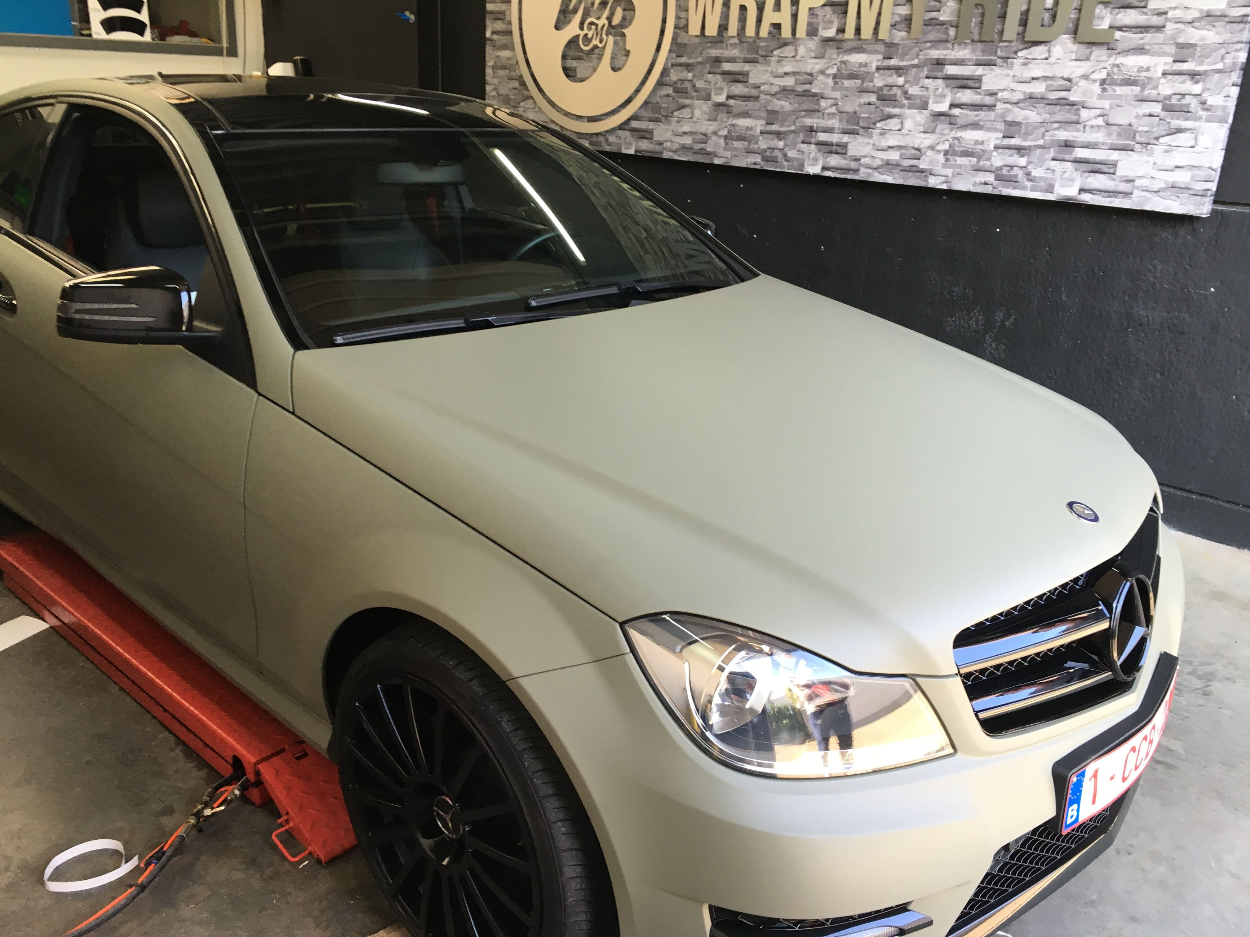 Mercedes C-Coupe matte khaki green, Carwrapping door Wrapmyride.nu Foto-nr:9176, ©2020