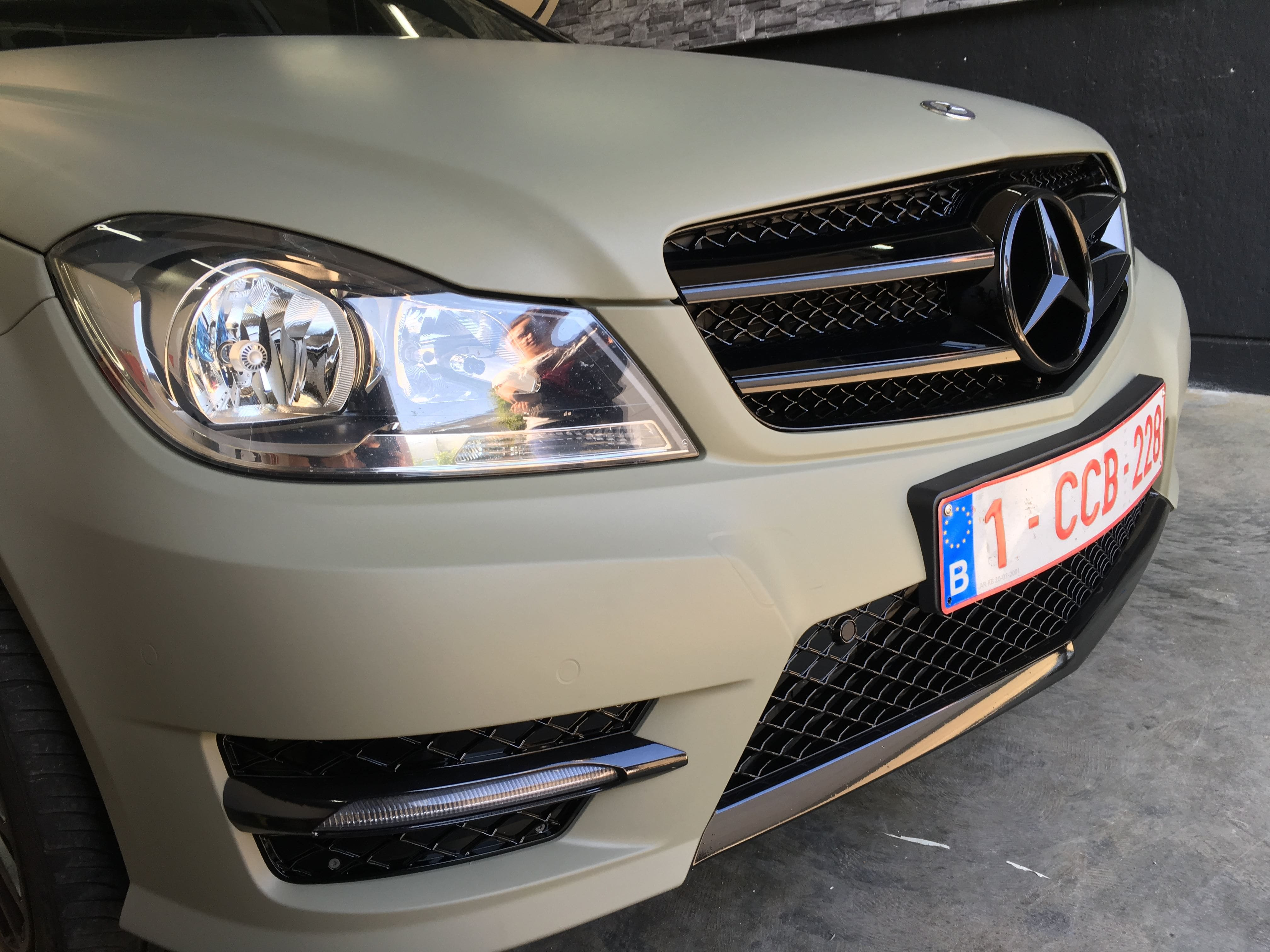 Mercedes C-Coupe matte khaki green, Carwrapping door Wrapmyride.nu Foto-nr:9174, ©2021