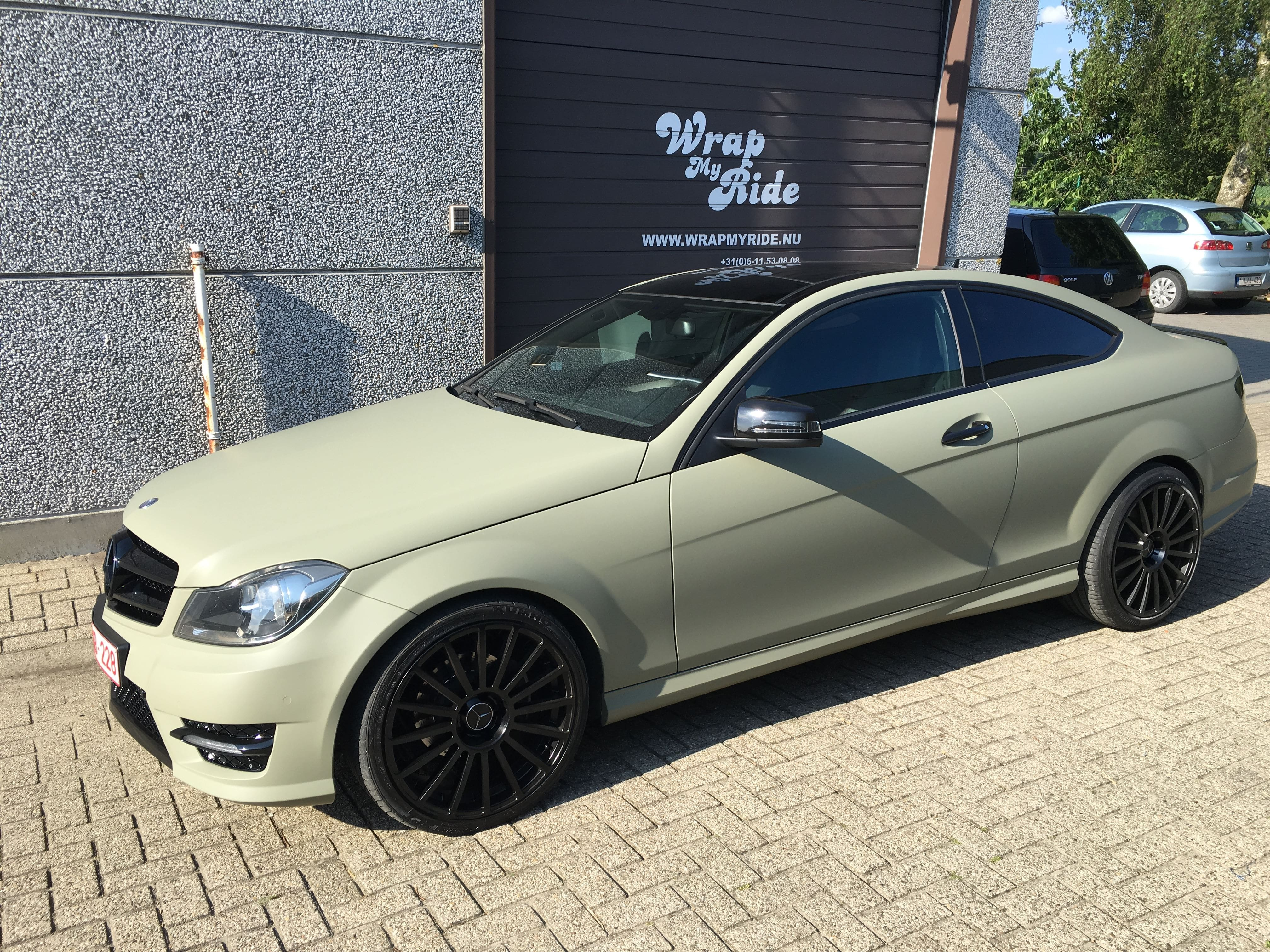 Mercedes C-Coupe matte khaki green, Carwrapping door Wrapmyride.nu Foto-nr:9170, ©2021