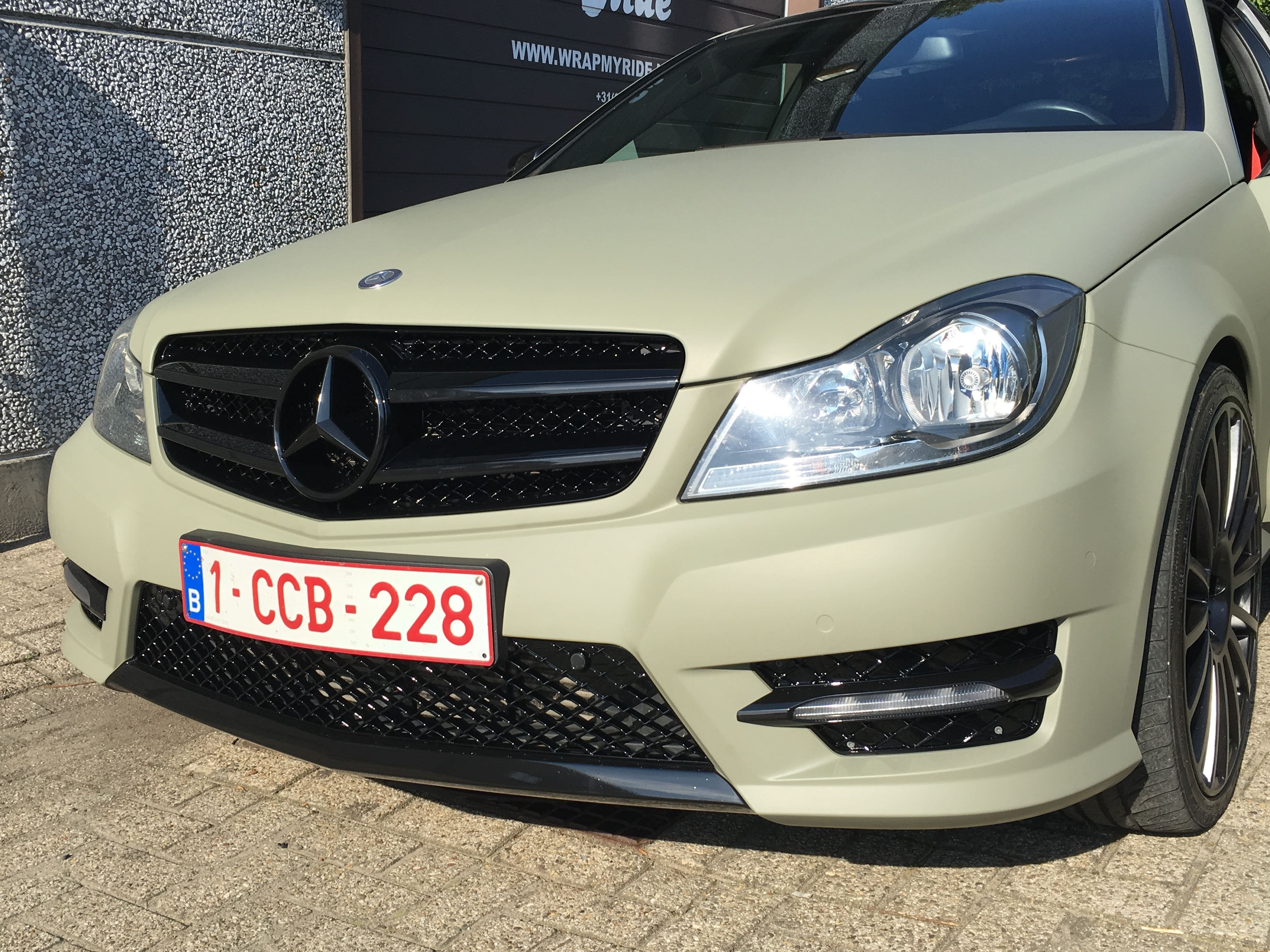Mercedes C-Coupe matte khaki green, Carwrapping door Wrapmyride.nu Foto-nr:9168, ©2021