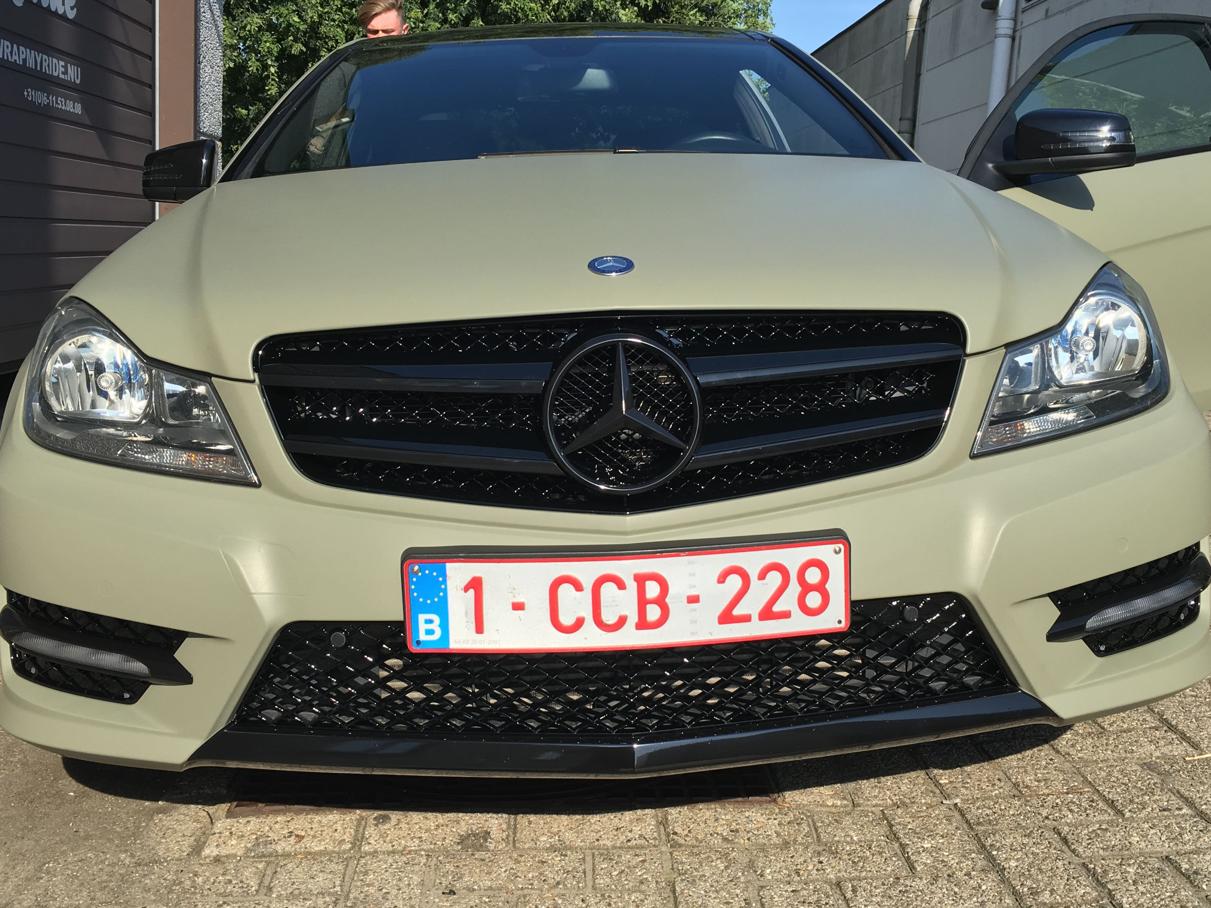 Mercedes C-Coupe matte khaki green, Carwrapping door Wrapmyride.nu Foto-nr:9167, ©2021