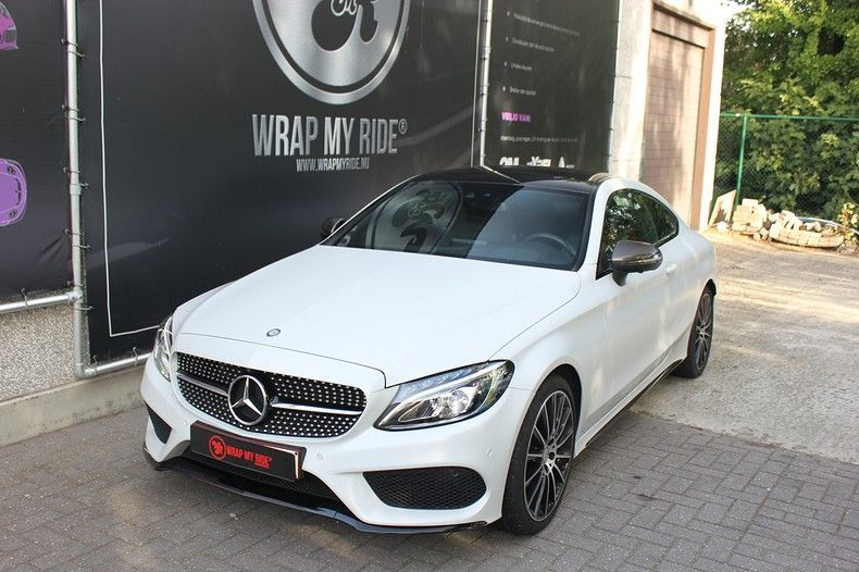 Mercedes C-coupe Satin ghost flip, Carwrapping door Wrapmyride.nu Foto-nr:11891, ©2021