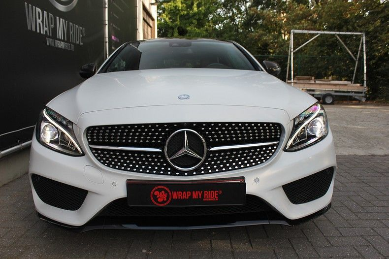 Mercedes C-coupe Satin ghost flip, Carwrapping door Wrapmyride.nu Foto-nr:11890, ©2021