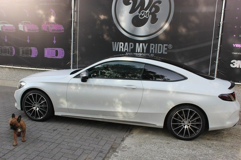 Mercedes C-coupe Satin ghost flip, Carwrapping door Wrapmyride.nu Foto-nr:11886, ©2021