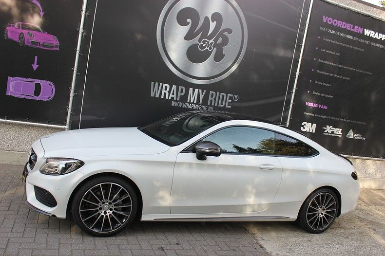 Mercedes C-coupe Satin ghost flip, Carwrapping door Wrapmyride.nu Foto-nr:11885, ©2021