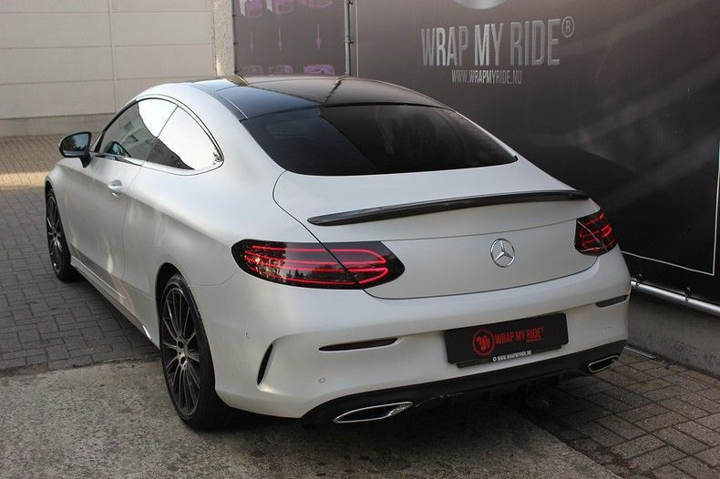 Mercedes C-coupe Satin ghost flip, Carwrapping door Wrapmyride.nu Foto-nr:11876, ©2021