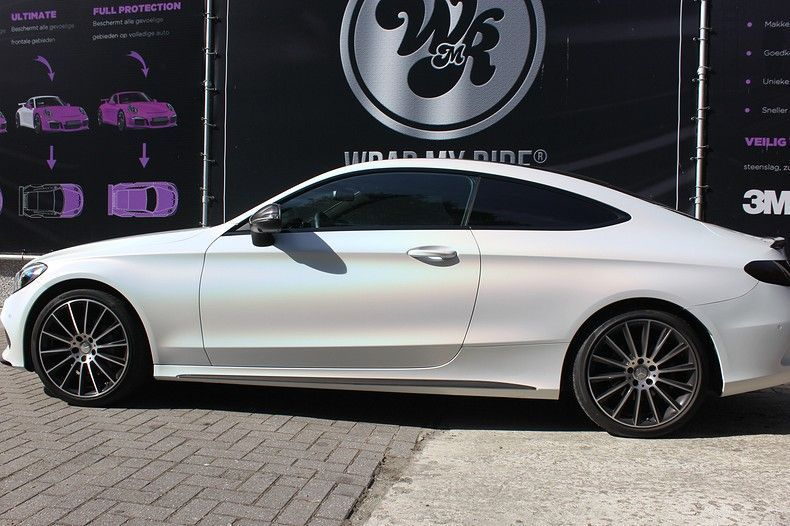 Mercedes C-coupe Satin ghost flip, Carwrapping door Wrapmyride.nu Foto-nr:11860, ©2021
