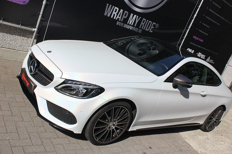 Mercedes C-coupe Satin ghost flip, Carwrapping door Wrapmyride.nu Foto-nr:11857, ©2021