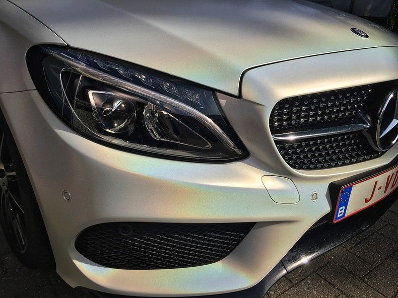 Mercedes C-coupe Satin ghost flip, Carwrapping door Wrapmyride.nu Foto-nr:11846, ©2021