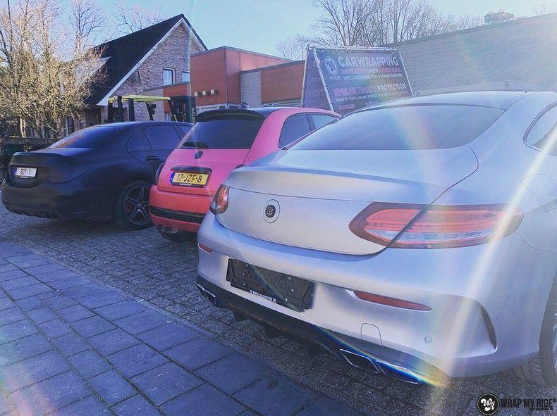 Mercedes C-coupe satin white aluminium, Carwrapping door Wrapmyride.nu Foto-nr:12708, ©2021