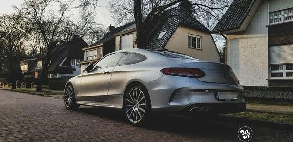 Mercedes C-coupe satin white aluminium, Carwrapping door Wrapmyride.nu Foto-nr:12709, ©2019