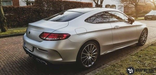 Mercedes C-coupe satin white aluminium, Carwrapping door Wrapmyride.nu Foto-nr:12711, ©2020