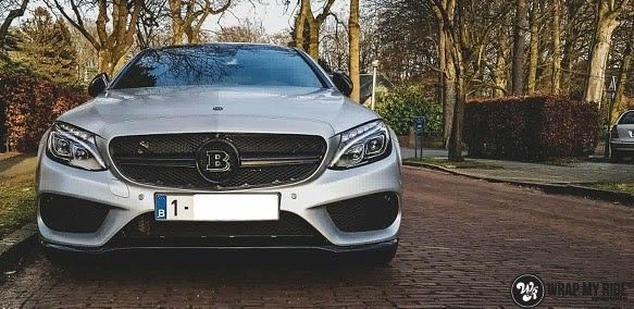 Mercedes C-coupe satin white aluminium, Carwrapping door Wrapmyride.nu Foto-nr:12713, ©2019