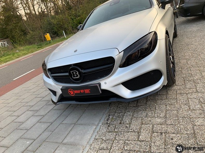 Mercedes C-coupe satin white aluminium, Carwrapping door Wrapmyride.nu Foto-nr:12717, ©2019