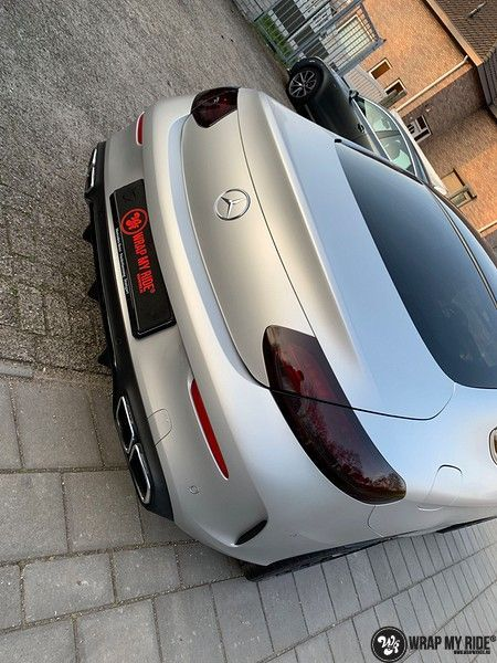 Mercedes C-coupe satin white aluminium, Carwrapping door Wrapmyride.nu Foto-nr:12719, ©2019