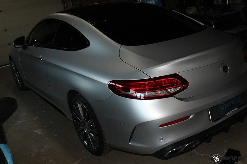 Mercedes C-coupe satin white aluminium, Carwrapping door Wrapmyride.nu Foto-nr:12723, ©2019