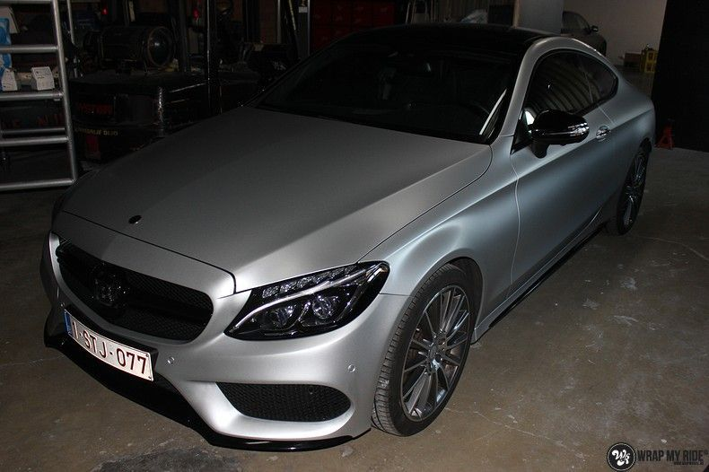 Mercedes C-coupe satin white aluminium, Carwrapping door Wrapmyride.nu Foto-nr:12724, ©2020