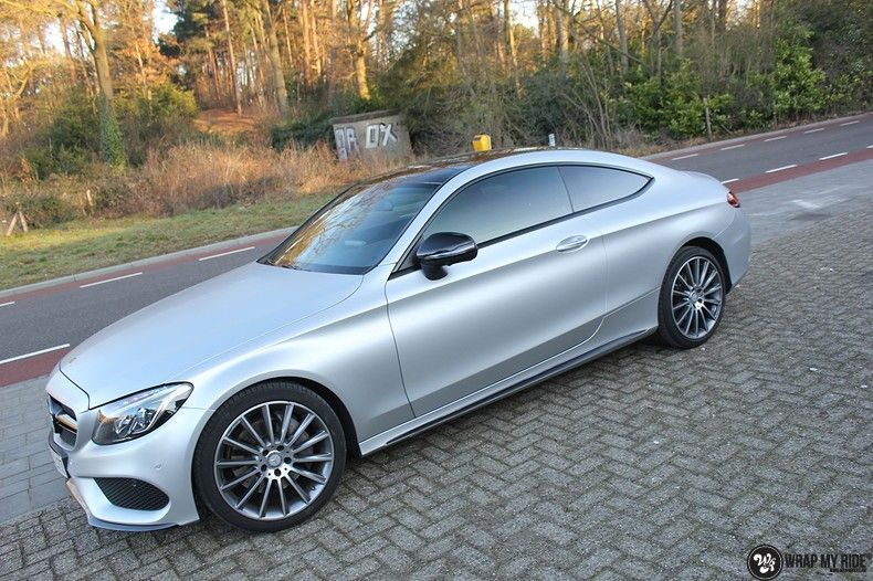 Mercedes C-coupe satin white aluminium, Carwrapping door Wrapmyride.nu Foto-nr:12726, ©2020