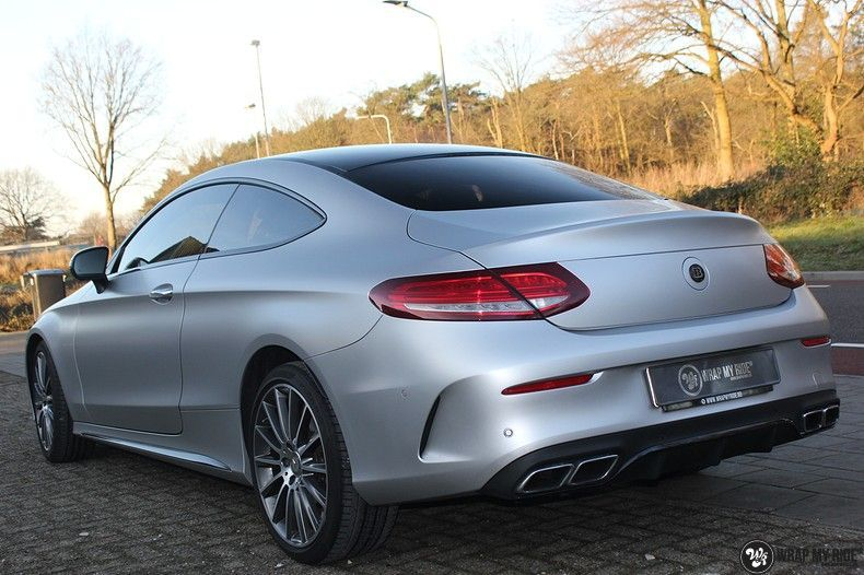 Mercedes C-coupe satin white aluminium, Carwrapping door Wrapmyride.nu Foto-nr:12728, ©2019