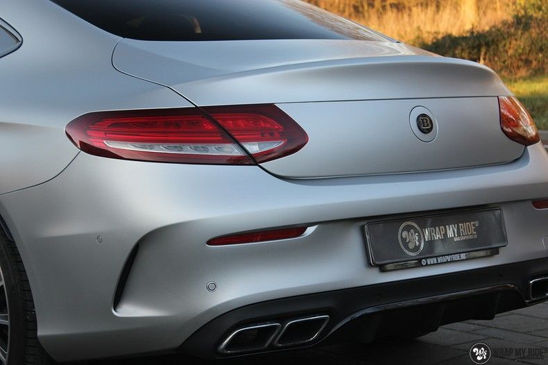 Mercedes C-coupe satin white aluminium, Carwrapping door Wrapmyride.nu Foto-nr:12729, ©2021